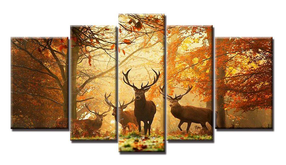 YIJIAHE Painting Modern Wall Art,Deer Landscape Print on Canvas,Contemporary Framed Artwork for Living Room Bedroom Decoration