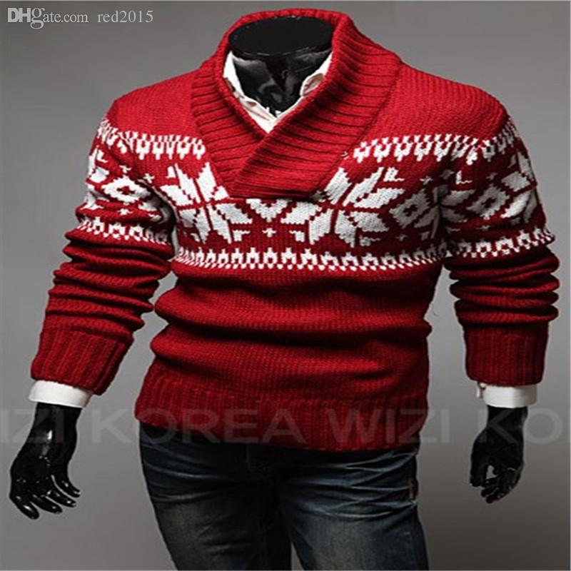 2019 Wholesale Mens Sweaters Casual Pullover New Brand Men Christmas Snowflake  Sweater Pullovers Knitted Man From Red2015 c6f114643
