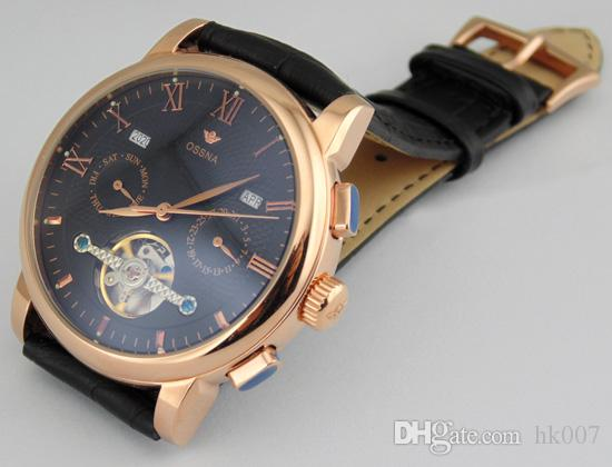 1622 Ossna 42mm Stainless Steel Rose Gold Case Black Dial Men's Automatic Watch Gift For Men