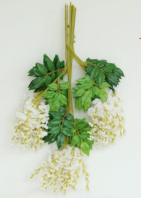 Soie Wisteria Fleur Rotins Artificielle Glycine Fleur Soie Haricot Vigne Fleurs pour Mariage Home Party Décorations Florales