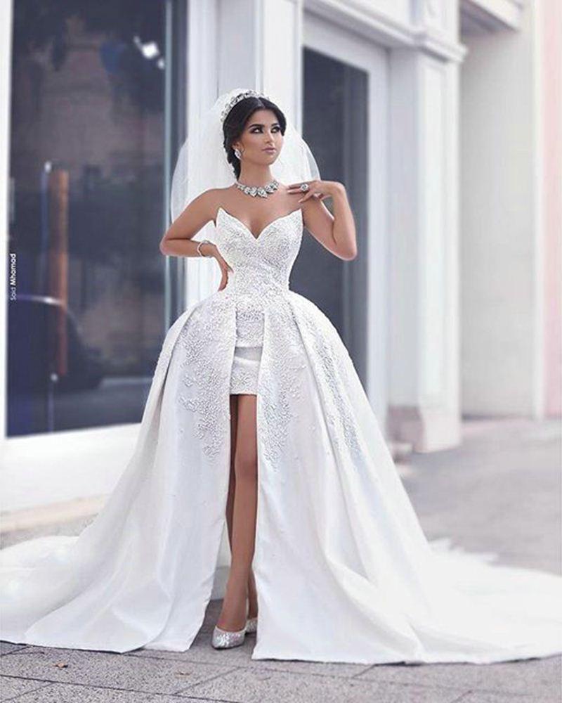 Großhandel Reizvolle Kurze Strand Hochzeits Kleider Mit Abnehmbarem ...