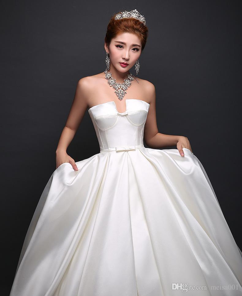 Großhandel 2017 Neue Art Dame Hohe Taille Weißes Hochzeitskleid ...