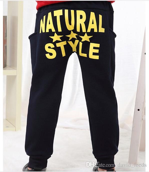 Retail 2019 Autumn New Big Boys Harem Pants Children Letters Printed Harem Pants Kids Cotton Warm Casual Pants Boy Leisure Trousers