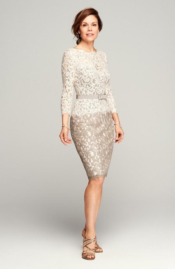 Старинные кружева платья для матери невесты оболочка длиной до колен короткие платья для жениха Sheer Bateau декольте с длинными рукавами платье створки