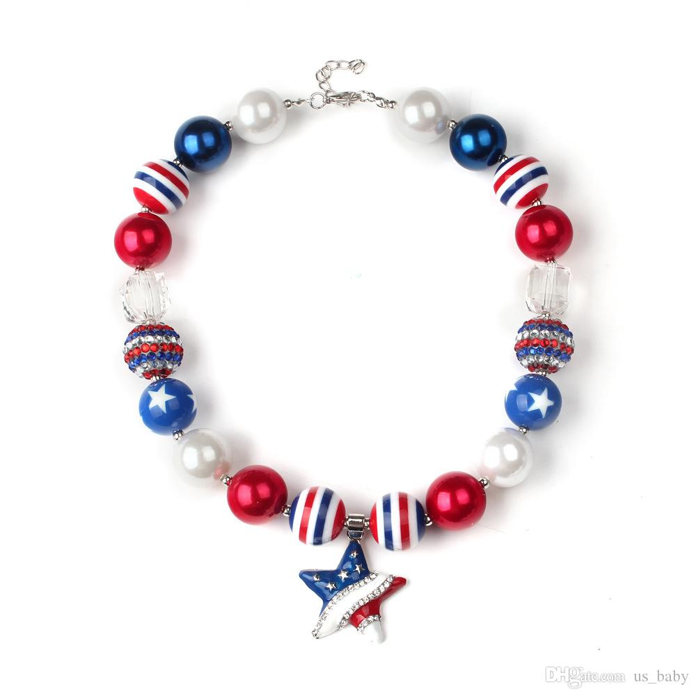 Kids American flag style necklace +flowers headband set Children toddler jewelry set Baby girls Alloy 5star necklace