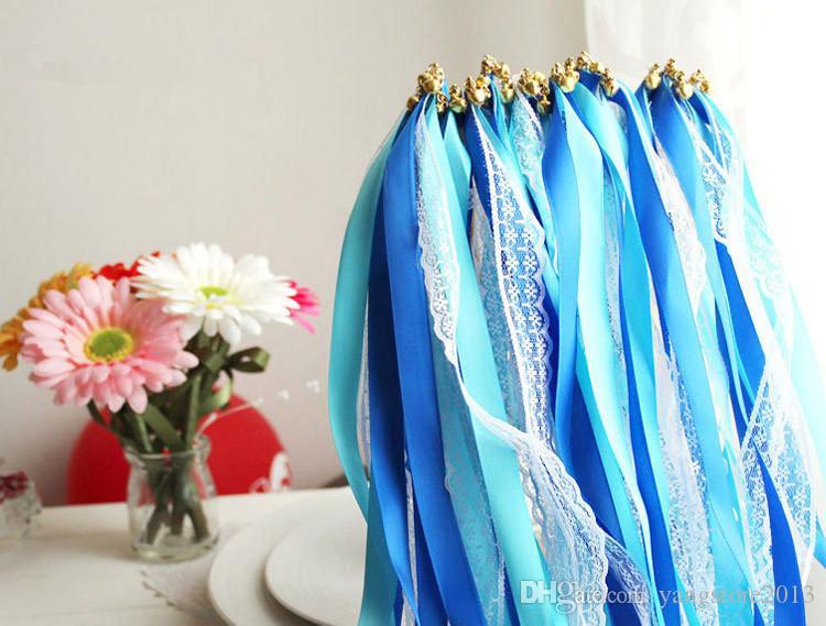 50 pezzi di LACCETTO Matrimonio nastro bacchette, matrimonio confetti Twiring Stream nastro bacchette con campane JCO-RA01