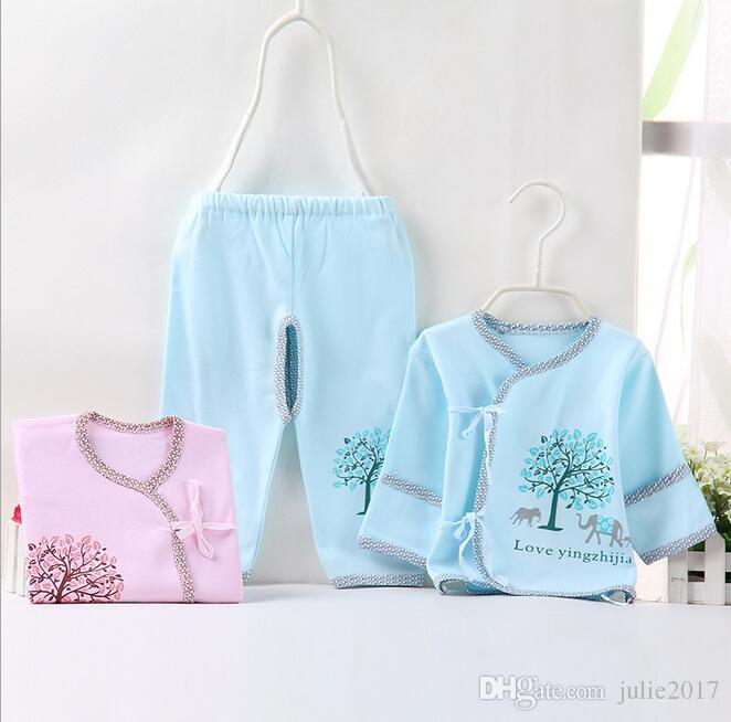 2017 Newborn Baby 0-3M Boy Girl warm Clothes set Natural Soft Cotton shoulder buttons Autumn Underwear baby set