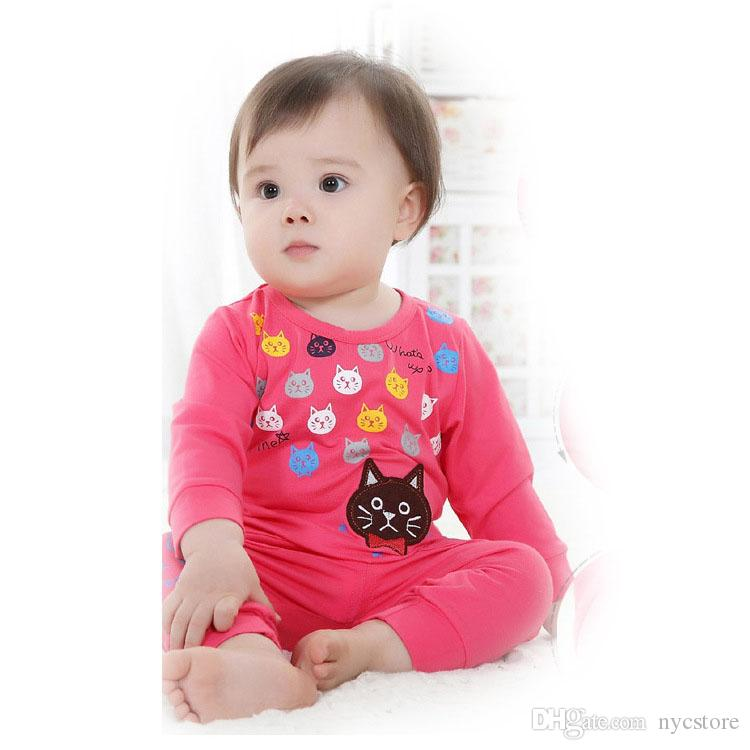 neueste säuglingskleidung babykleidung sets junge Baumwolle süße katze langarm 2 stücke anzug baby mädchen kinder kleidung