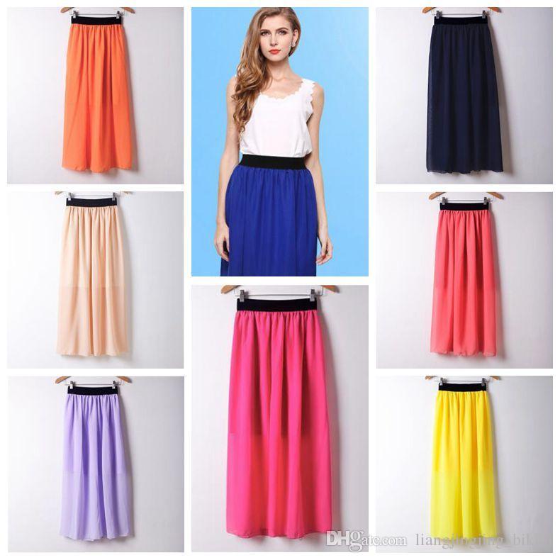 b926eb3db 20 colores moda mujer falda larga cintura alta plisado maxi faldas para  mujer delgado de la gasa de la vendimia maxi falda otoño verano faldas ...
