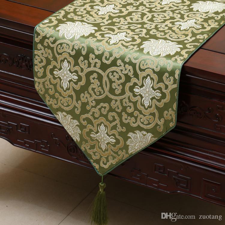 중국 스타일 해피 플라워 테이블 러너 럭셔리 패션 실크 브로케이드 사각형 티 테이블 천 고품질 식탁 테이블 플레이스 매트 200x33