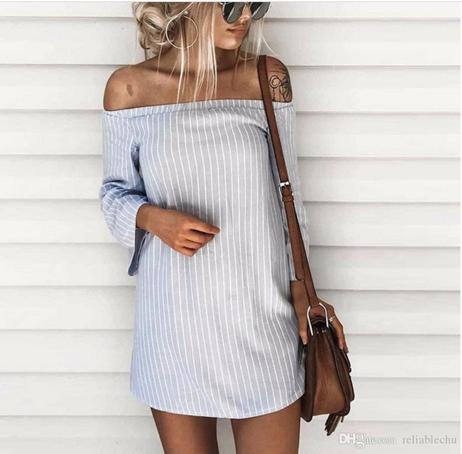 Hollow Out Sexy Dress Casual Women Slash Neck Long Sleeve Design Stakerope Striped Pattern Dew Shoulder Sleeve Free Ship 18 Mini Party Sexy