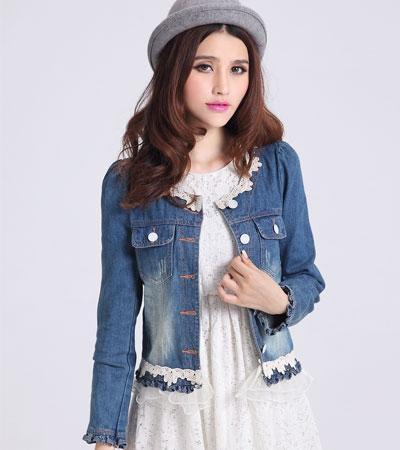Korean Fashion Lace Long Puff Sleeve Short Hole Denim Jacket Coat ...