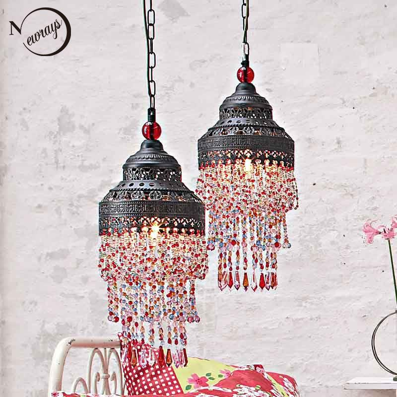 antique pendant lamp colourful beads lighting antique hanging