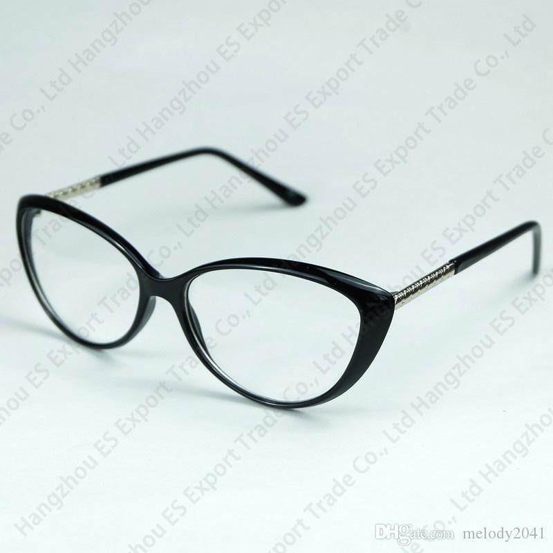 All'ingrosso Crescent Style Cateye Frame metallo rombico plaid gambe con intere canne Ottici occhiali realizzati Sexy Lady