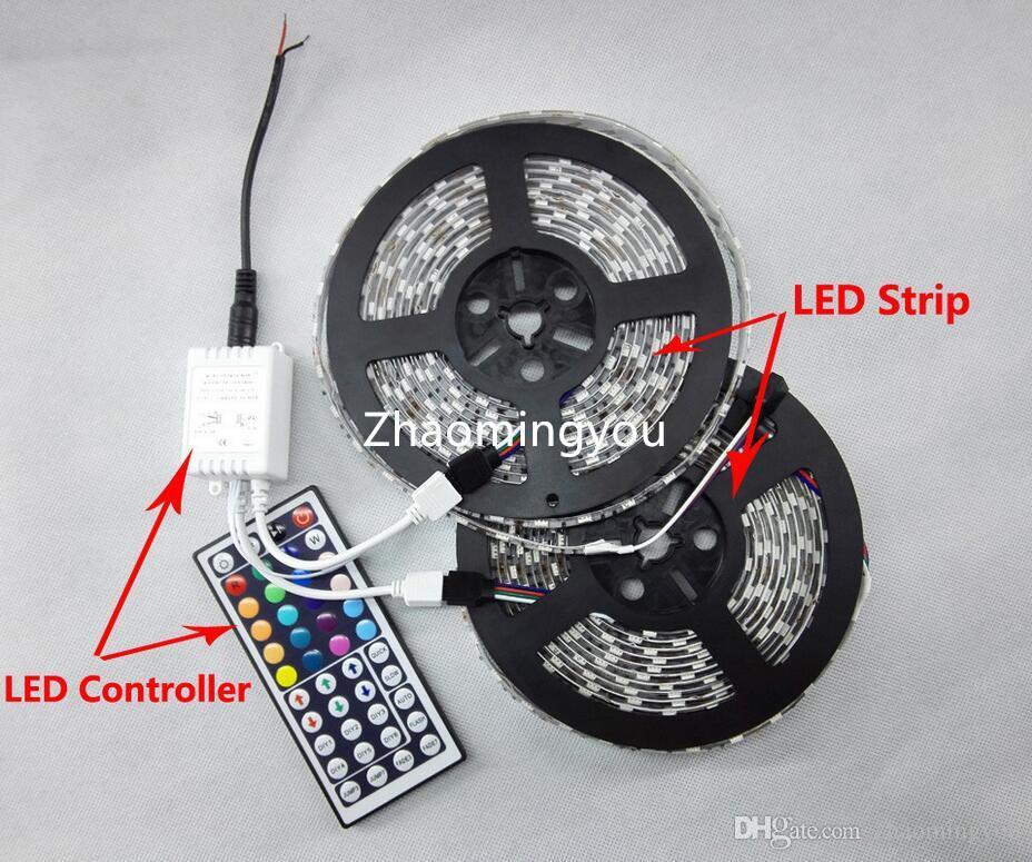 Le jardin de fête de la bande SMD 5050 de 2 * 5M 10M RVB LED allumant le DC12V 60LEDs / M 300LEDs avec le contrôleur à distance de 44 clés IR