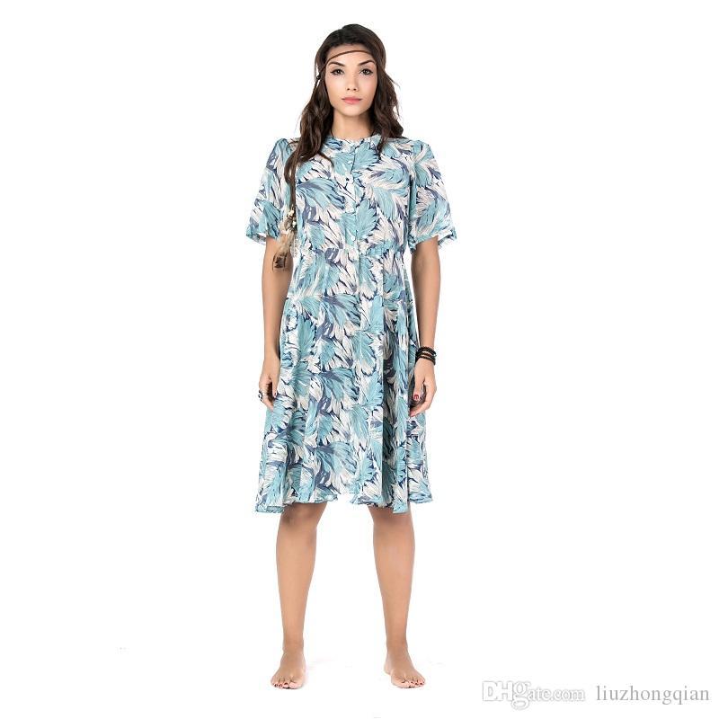e7b9e98c9c76 Acquista Beauty Garden 2019 Abito Donna New Fashion National Dress Casual  Manica Corta O Collo Summmer Autunno Chiffon Dress A  32.99 Dal  Liuzhongqian ...