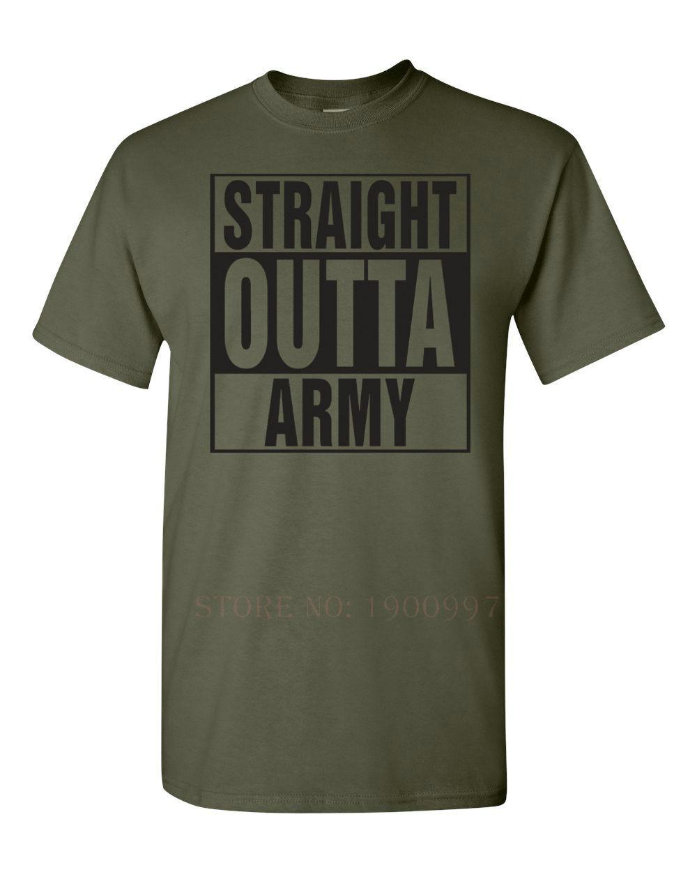 Straight Outta The ARMY T-shirt da uomo militare degli Stati Uniti 1305