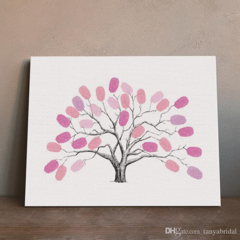 Fingerprint Tree Signature Canvas Painting Car Regalo di nozze Decorazione Nome e data Personalizzato Libro di registrazione gli ospiti 30 * 40 cm