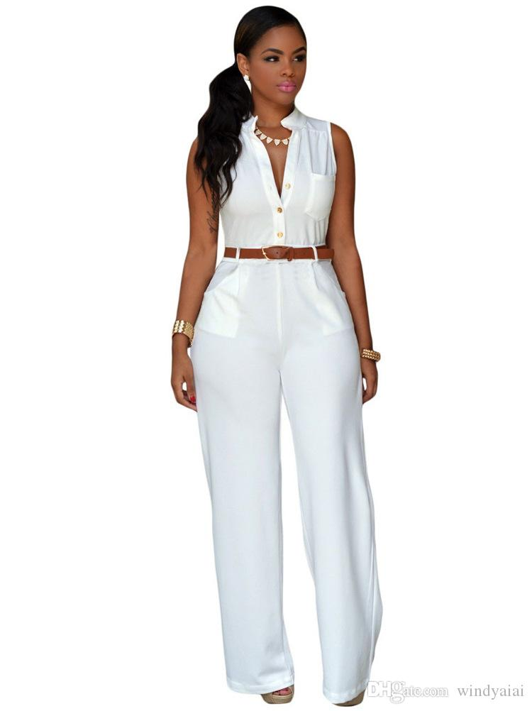 V-neck work wear woman jumpsuit Sexy slim full length female rompers solid Ultra-wide-leg trousers for woman