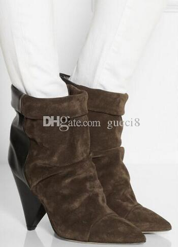 IS Marant Spike Heel Boots Women Genuine leather Pointy toe Ankle Suede Andrew Wedge Booties