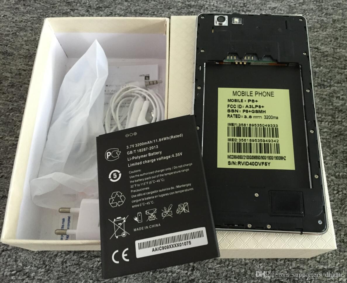 Android 6.0 Huawei p8 plus teléfono 6 pulgadas MTK6572 teléfonos celulares de doble núcleo dual Sim 512 RAM 4GB ROM show 32GB Fake 4G LTE GPS