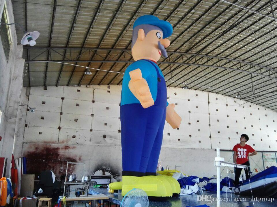 deep blue 4mH inflatable old man for sale with free air blower