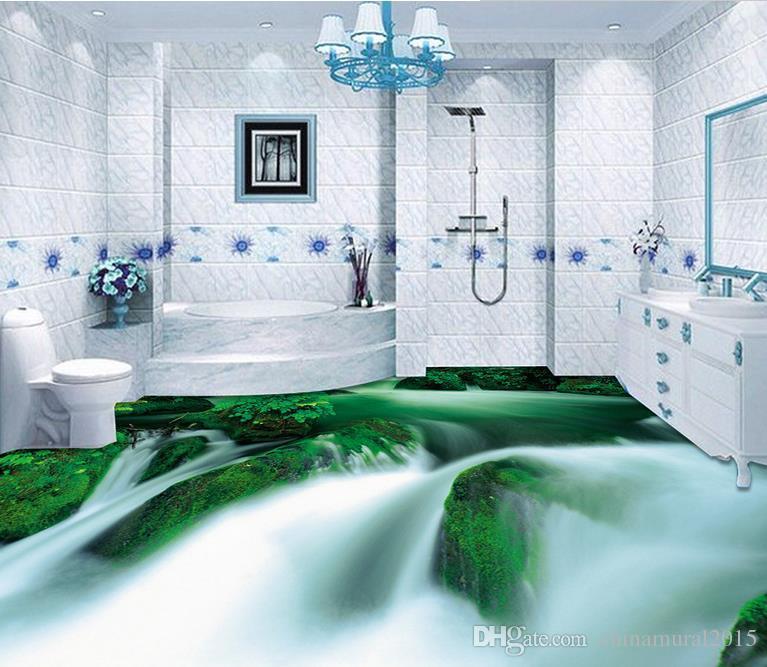 piso de vinil Piso 3D HD rosas água Mar Ver WC Casa de Banho Quarto