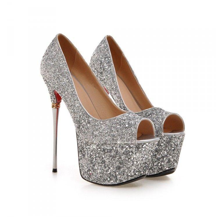 2016 paillettes signore sexy scarpe tacchi alti piattaforma plus size 32-43 dimensioni abito da sposa scarpe 16 cm sexy peep toe discoteca partito scarpe