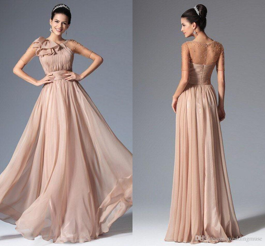New bridesmaids dresses round neck sheer sleeve with pearl beads new bridesmaids dresses round neck sheer sleeve with pearl beads champagne maid of honor long a line wedding party dresses al7357 fun bridesmaid dresses ombrellifo Image collections