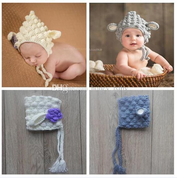 254259ac9b5 2019 Newborn Baby Girls Boys Sheep Hat Infant Toddler Animal Knitted Hat  Baby Crochet Christmas Cap Winter Children Beanie 100% Cotton Photo Prop  From ...