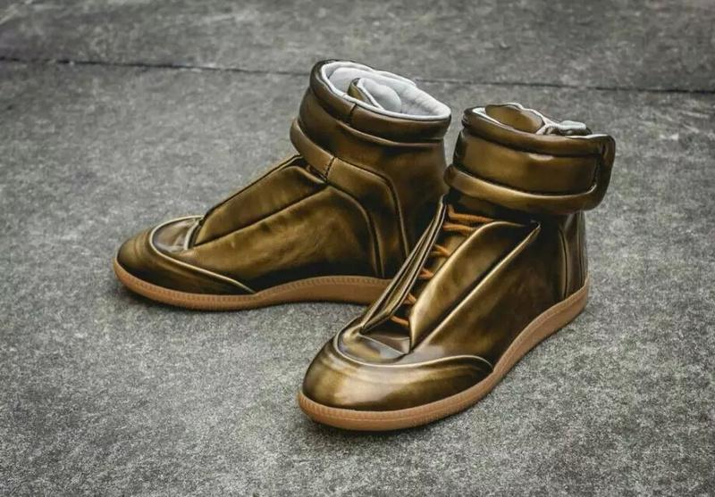 Original Maison Martin Margiela Shoes GOLD Sheepskin Fashion Flat Sneakers  For LOVERS Casual Genuine Leather Shoes Hook Loop High Top Discount Shoes  Mens ... b634ef0b5067