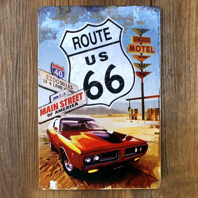 2018 Wholesale Metal Painting Route 66 Motorcycle Metal Painting ...