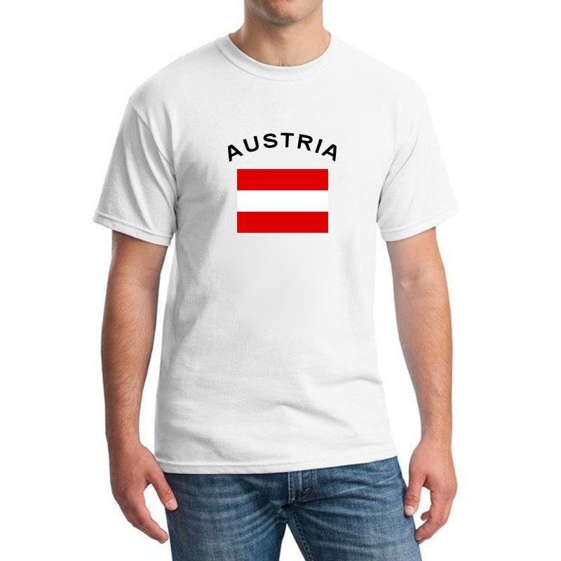 Neuheiten ÖSTERREICH Fußball Fans Cheer T-Shirts Herrenbekleidung 2016 European Cup 100% Baumwolle Sport National Flag Tops Tees