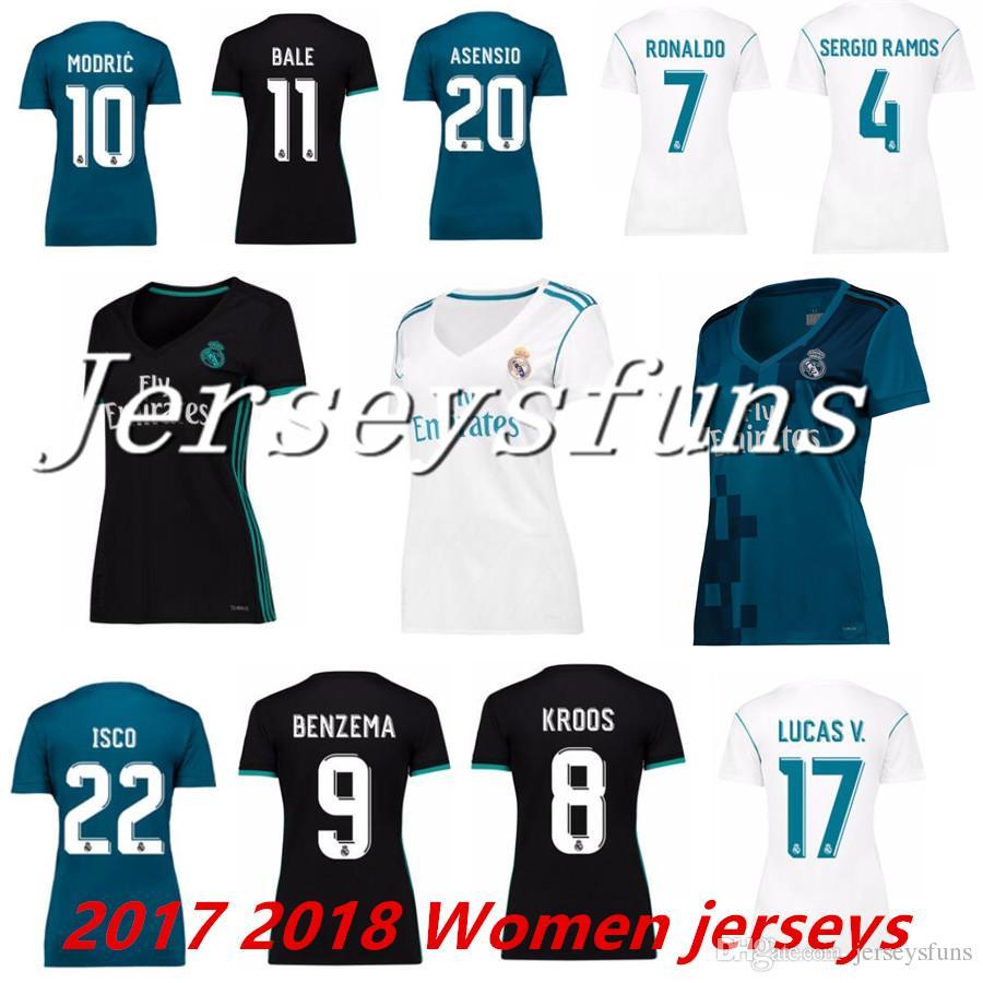 bee8a38f6 IscoSoccer JerseysWord CupYouthWordsSpainFootball 20172018 Real Madrid  Women Soccer Jersey RONALDO White Black Blue SERGIO RAMOS White BALE RAMOS  ISCO ...