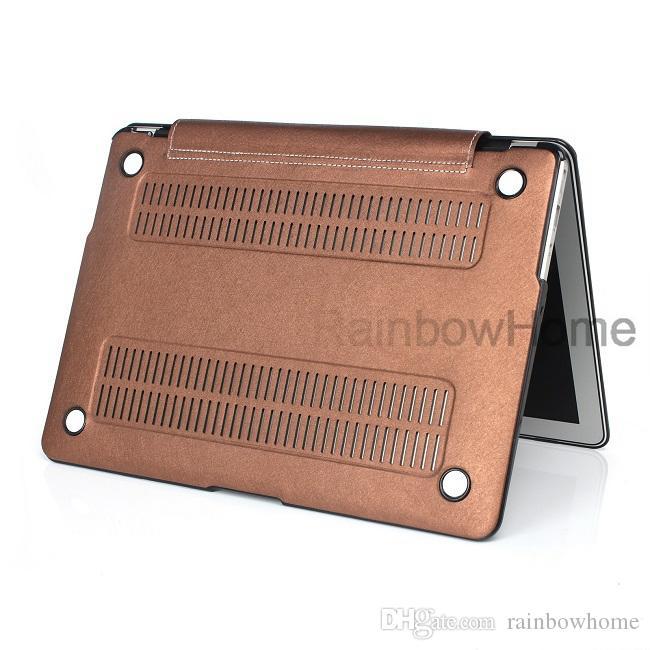 Lüks PU Deri Cilt Plastik Kılıf Koruyucu Kabuk Kapak Macbook Hava Pro Retina Için 13 15 16 inç Sert Koruma Kılıfları Ön Geri
