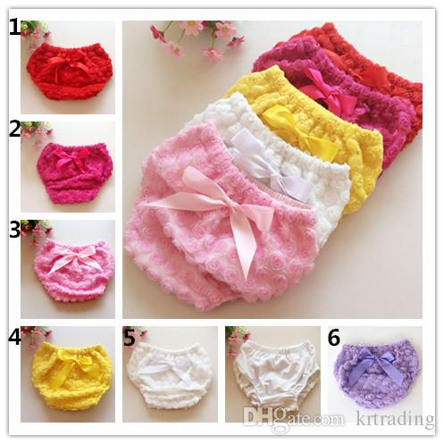 Baby lace 3D Rose Panties 3sizes Girl Ruffle ribbon bowknot Shorts newborn diaper underwear infant rose flower pants
