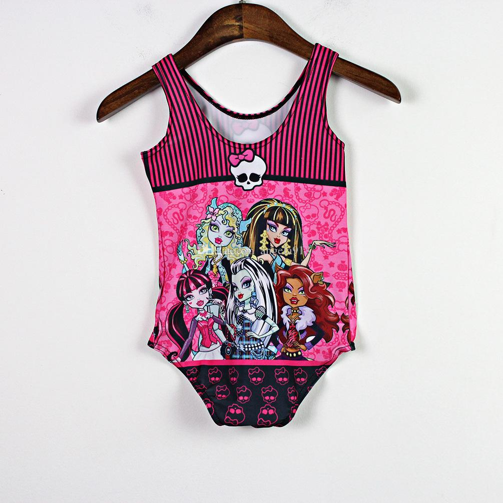 Yeni canavar yüksek Bebek Kız Tek Parça Mayo çocuk karikatür canavar yüksek Mayo Bikini Suit ücretsiz kargo C1012