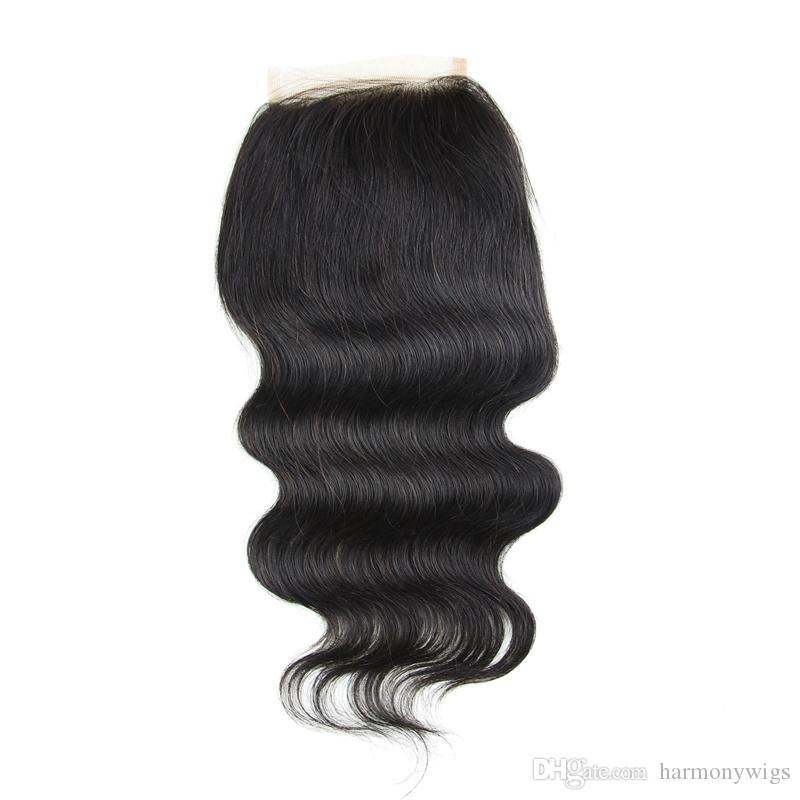 Cabello humano brasileño Cierres de encaje completo 4x4inch Color natural Cuerpo recto Extensiones de cabello rizado Suelto rizado profundo