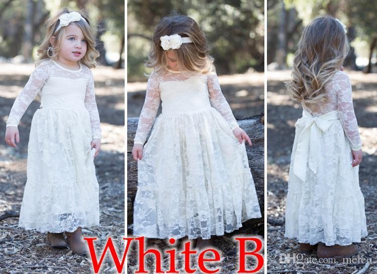 Flickor full lång klänning med söt blomma för ålder 3-8 baby barn prinsessa bröllop prom parti vit / grädde stor båge långärmad klänning