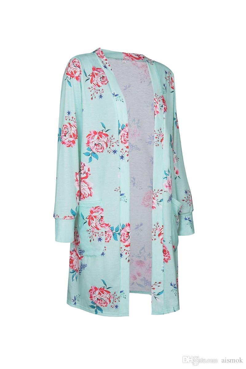 Nouveau Floral Imprimer À Manches Longues Femmes Trench Coats Lâche Plus La Taille Automne Polyester Imprimer Long Style Mince Manteaux Livraison Gratuite