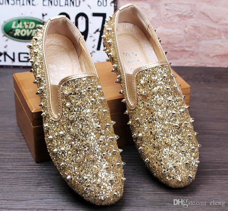 Supply 2019 Fashion Men Dress Shoes Punk Rivet Rhinestone Black Party Wedding Shoes Pointed Toe Flats Driving Shoes Loafers Le-20 Men's Shoes Shoes