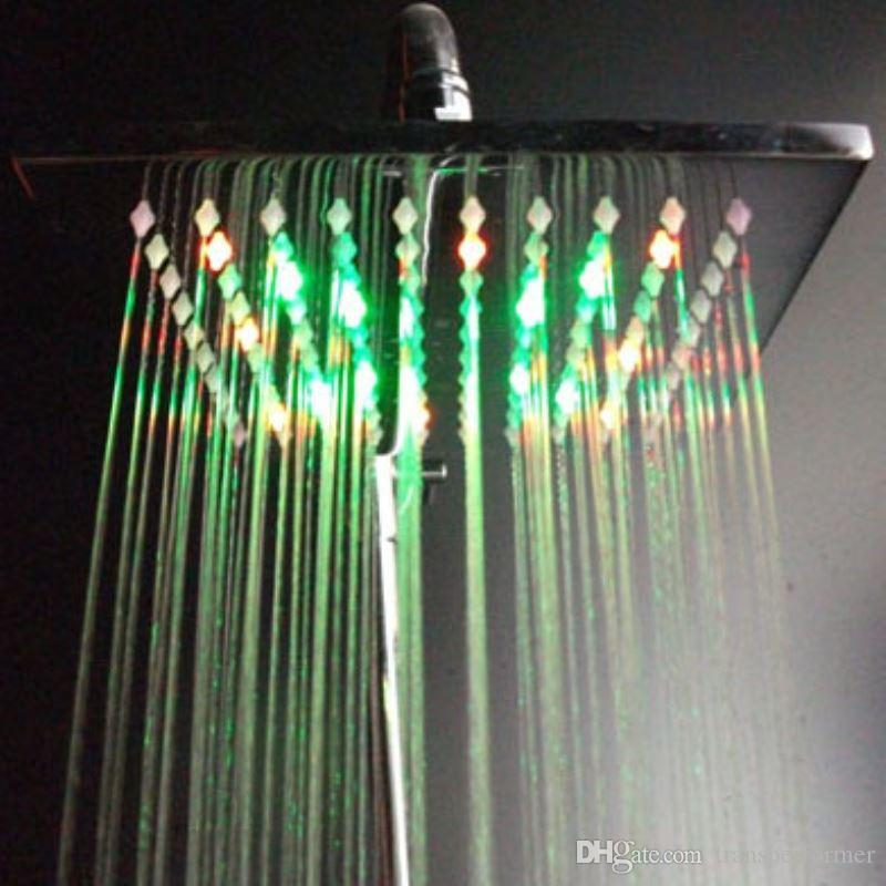 Best 200*200*10mm Brass Rainbow Color Led Light Rain Shower Head ...