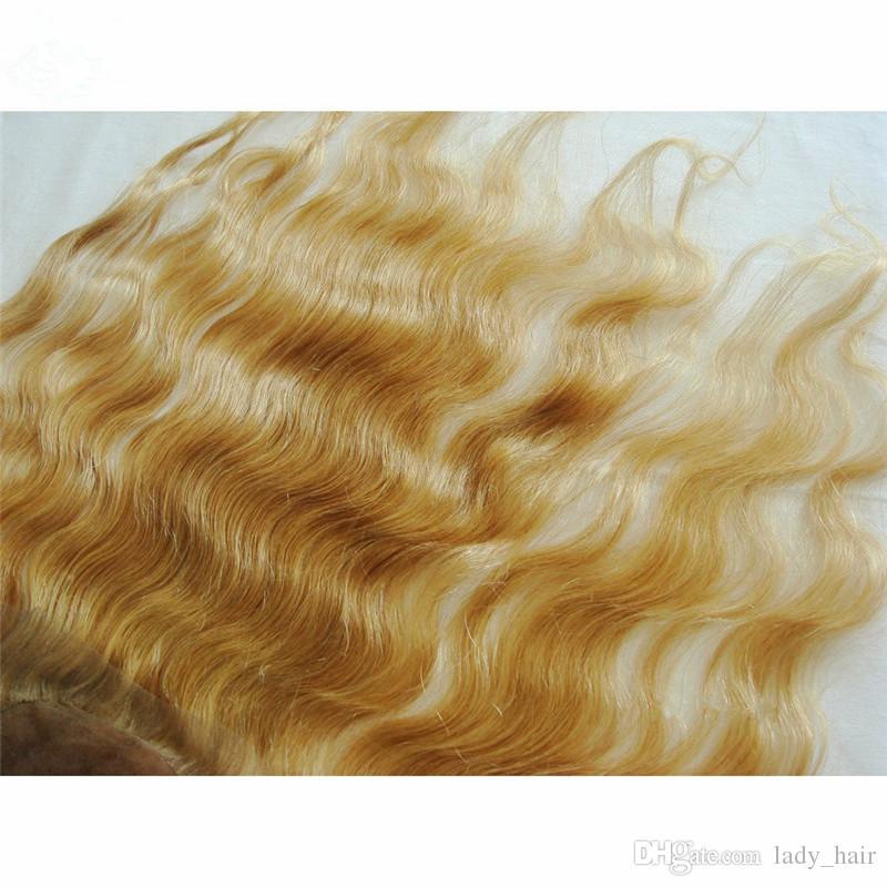 9A Capelli russi Miele Biondo Base di seta Chiusura frontale in pizzo Pezzi di capelli # 27 Strawbery Biondo Corpo Onda in seta Top Completo frontale in pizzo 13x4