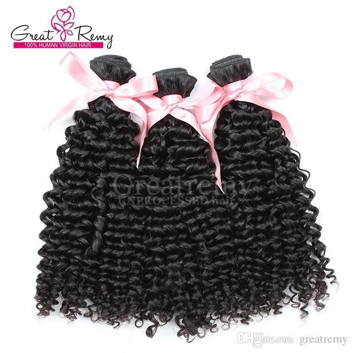 100% brasilianska mänskliga hårväftväven rakt vågigt lockigt naturligt svart blekt hårförlängning 3st / greatremy