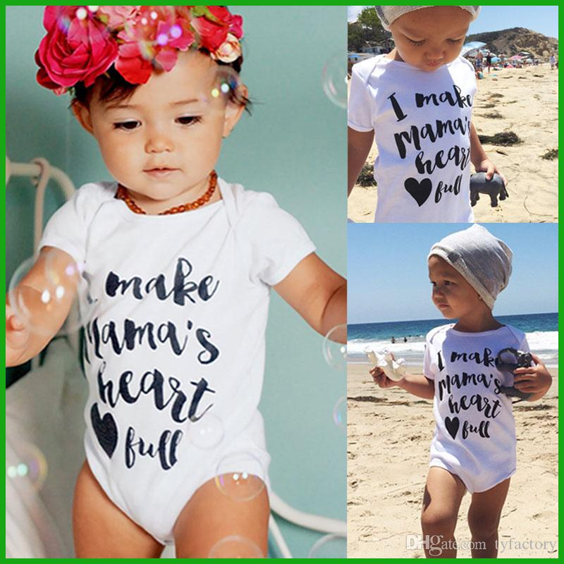 5df476be14bb3 Toddler baby rompers one-pieces white letter casual boys girls bodysuits  infant children outfits summer beach lovely style free shipping