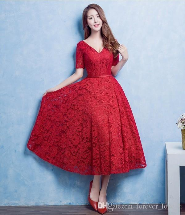 Vintage 2016 Full Lace Tea Length Short Prom Dresses Red A Line V Neck Illusion Short Sleeves Cheap Evening Party Gowns with Sash