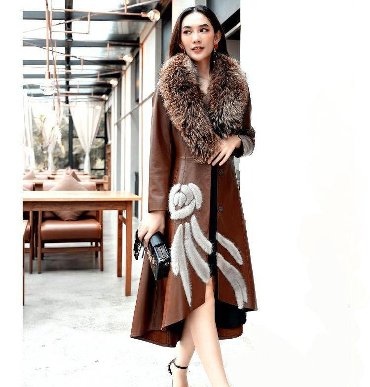 Women Real Sheepskin Long Leather Coat with Real Fox Fur Collar F0271 Sheepskin Coat Women