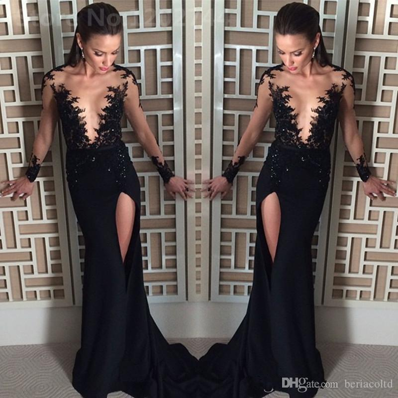 Sexy Sheer Neck Little Black Prom Dresses Long Sleeves Lace