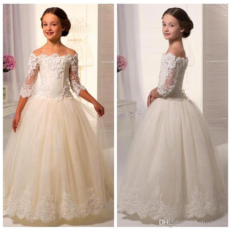 15b63804e 3 4 Long Sleeves Lace Appliques A Line Flower Girls Dresses Floor ...