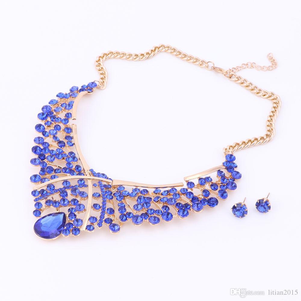 Conjunto de joyas de la joyería de las cuentas de África Conjuntos de joyería de la boda de Nigeria de la moda para las novias Pendientes de pendientes de collar de oro